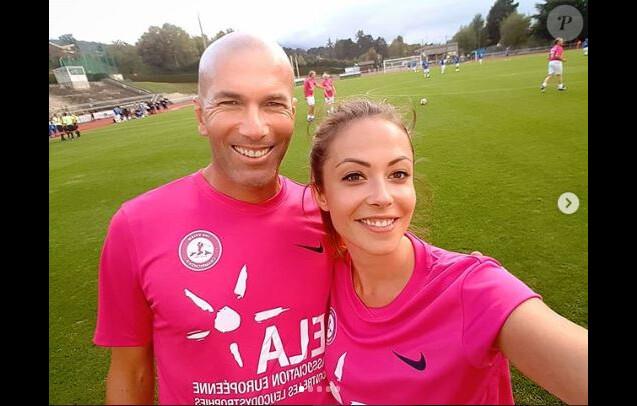 Dounia Coesens (Plus belle la vie) et Zinédine Zidane lors d'un match pour l'association ELA - Instagram, 17 septembre 2018