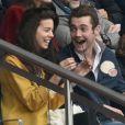 Louis Sarkozy et sa nouvelle compagne, Natalia, une musicienne et Pierre Sarkozy - Célébrités dans les tribunes du parc des princes lors du match de football de ligue 1 PSG-Bastia le 6 mai 2017.