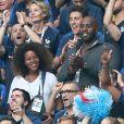 Teddy Riner et Nikos Aliagas - People au stade Loujniki lors de la finale de la Coupe du Monde de Football 2018 à Moscou, opposant la France à la Croatie à Moscou le 15 juillet 2018 .© Cyril Moreau/Bestimage