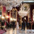 Réception au palais de la Zarzuela avec le roi Felipe VI d'Espagne et la reine Letizia le jour de le fête Nationale à Madrid le 12 octobre 2018.