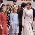 La reine Letizia d'Espagne et ses filles La princesse Leonor et l'infante Sofia d'Espagne - La famille royale d'Espagne assiste à la parade militaire le jour de la fête nationale espagnole à Madrid le 12 octobre 2018.