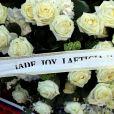 Exclusif - Les fleurs envoyées par Laeticia, Jade et Joy Hallyday aux obsèques de Charles Aznavour en la cathédrale arménienne Saint-Jean-Baptiste de Paris. Le 6 octobre 2018 © Jacovides-Moreau / Bestimage