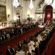 Les souverains néerlandais assistent à un banquet d'Etat au palais de Buckingham de Londres, lors de leur visite d'État au Royaume-Uni, le 23 octobre 2018.