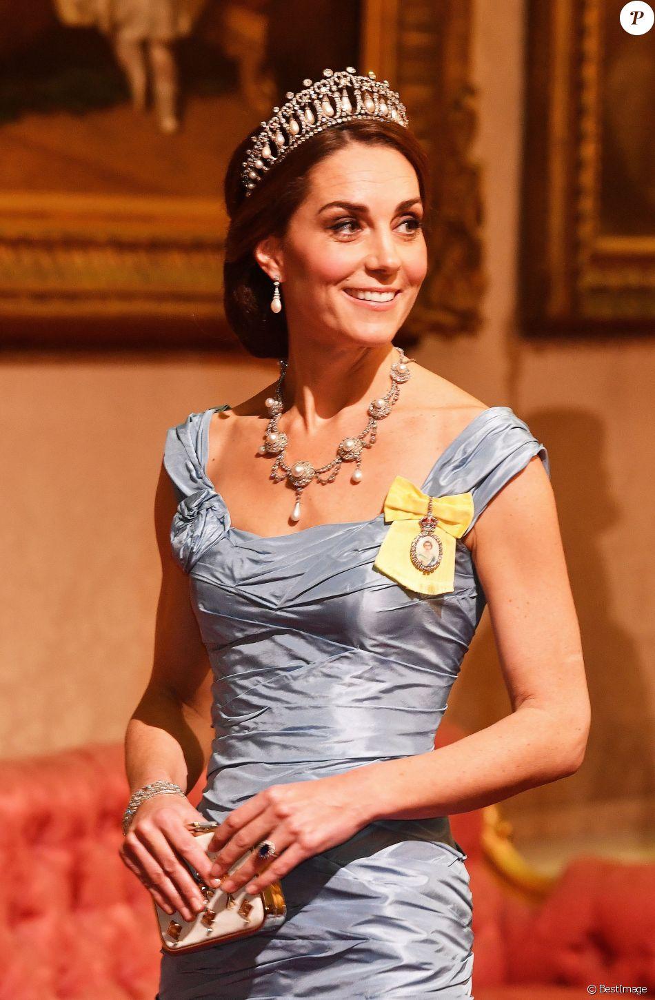 Catherine (Kate) Middleton, duchesse de Cambridge - Les souverains néerlandais assistent à un banquet d'Etat au palais de Buckingham de Londres, lors de leur visite d'État au Royaume-Uni, le 23 octobre 2018.