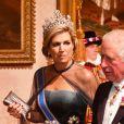 La reine Maxima des Pays-Bas et Le prince Charles, prince de Galles - Les souverains néerlandais assistent à un banquet d'Etat au palais de Buckingham de Londres, lors de leur visite d'État au Royaume-Uni, le 23 octobre 2018.