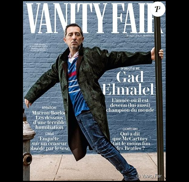 """Gad Elmaleh en couverture du magazine """"Vanity Fair"""", numéro du 25 octobre 2018."""