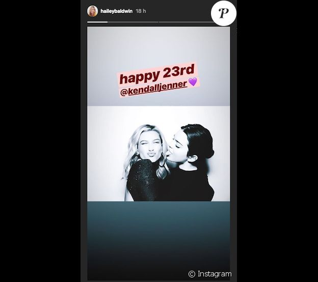 Hailey Baldwin souhaite un joyeux anniversaire à Kendall Jenner sur Instagram le 3 novembre 2018.