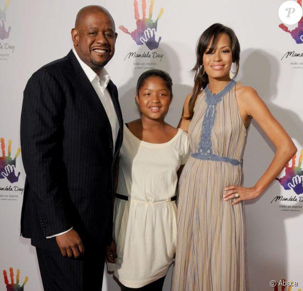 Forrest et Keisha Whitaker et leur fille Sonnet Noel lors de la soirée organisée au Beverly Hills Hotel, au profit de la Nelson Mandela Foundation, le 14 mai 2009