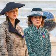 La princesse Charlene de Monaco et la princesse Caroline de Hanovre au palais princier de Monaco le 19 novembre 2018 lors de la prise d'armes dans le cadre des célébrations de la fête Nationale monégasque. © Dominique Jacovides/PRM/Bestimage