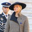 La princesse Charlene de Monaco et le prince Albert II de Monaco au palais princier de Monaco le 19 novembre 2018 lors de la prise d'armes dans le cadre des célébrations de la fête Nationale monégasque. © Dominique Jacovides/PRM/Bestimage