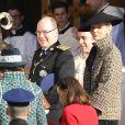 Le prince Albert II et la princesse Charlene de Monaco arrivant à la cathédrale Notre-Dame-Immaculée de Monaco lors de la Fête nationale monégasque le 19 novembre 2018. © Dominique Jacovides/Bestimage