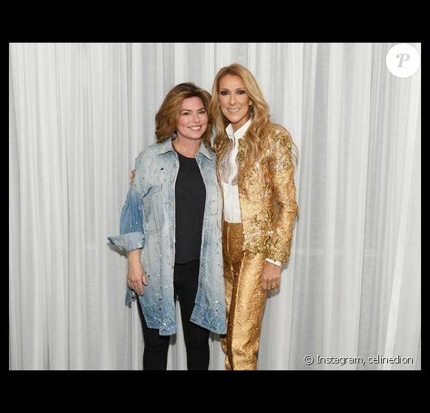 Céline Dion et Shania Twain, dans les loges du Colosseum, à Las Vegas, le 17 novembre 2018