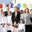 La princesse Lalla Salma du Maroc et sa fille la princesse Lalla Khadija le 1er février 2013 à Casablanca lors d'une Maison des enfants par l'Association Lalla Salma pour la lutte contre le cancer.