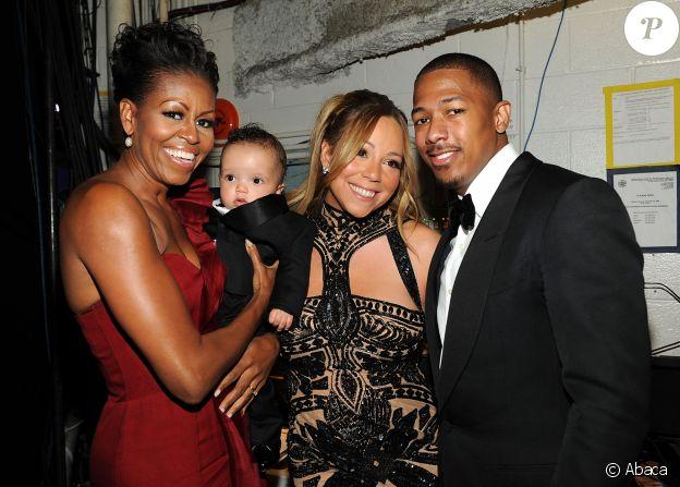 Michelle Obama, Morrocan Cannon, Mariah Carey et Nick Cannon dans les coulisses des BET Honors 2012 au Warner Theatre de Washington, le 14 janvier 2012