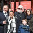 Jean-Noël Reinhardt (président du Comité Champs-Elysées), Karl Lagerfeld et Anne Hidalgo (maire de Paris) lors de l'illumination des Champs-Elysées à l'ocassion des Fêtes de Noël. Paris, le 22 novembre 2018. © Guirec Coadic/Bestimage