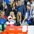 Joalukas Noah et sa mère Isabelle Camus et Clémence Bertrand (compagne de Lucas Pouille) lors du match opposant le joueur de tennis français Lucas Pouille, et le joueur espagnol Roberto Bautista Agut, lors de la Demi finale simple de la Coupe Davis de tennis France / Espagne, remportée par la France: (3-6, 7-6[5], 6-4, 2-6, 6-4) à Villeneuve-d'Ascq, France, le14 septembre 2018.