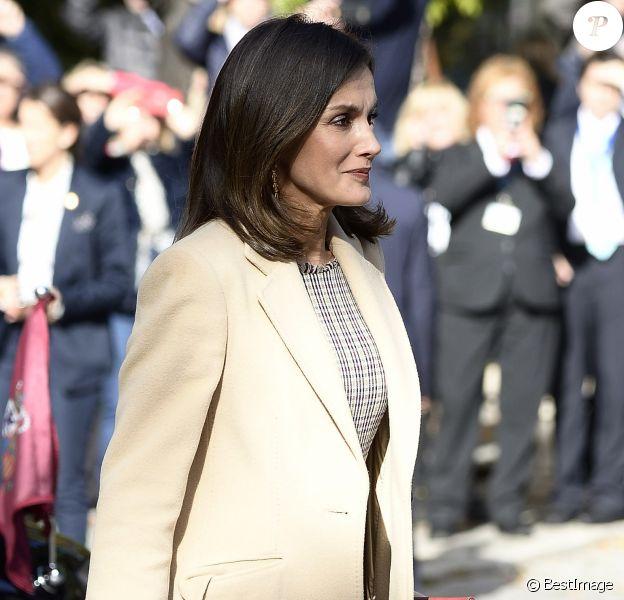 La reine Letizia d'Espagne lors de l'inauguration, avec le roi Felipe VI, du bicentenaire du Musée du Prado à Madrid le 19 novembre 2018.