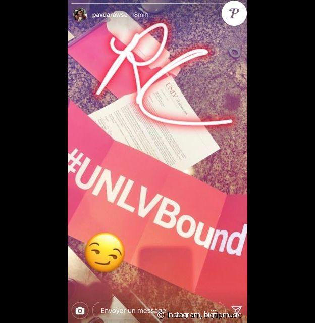 René-Charles Angélil a dévoilé sa lettre d'admission à l'Université du Nevada sur Instagram, en 2018