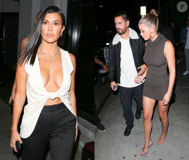 Kourtney Kardashian, Scott Disick et Sofia Richie. Le 16 novembre 2018, le trio s'était retrouvé avec d'autres membres de la famille et des amis pour une soirée à Los Angeles.