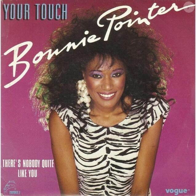 """Bonnie Pointer sur la pochette de son single """"Your Touch"""" sorti en 1984"""