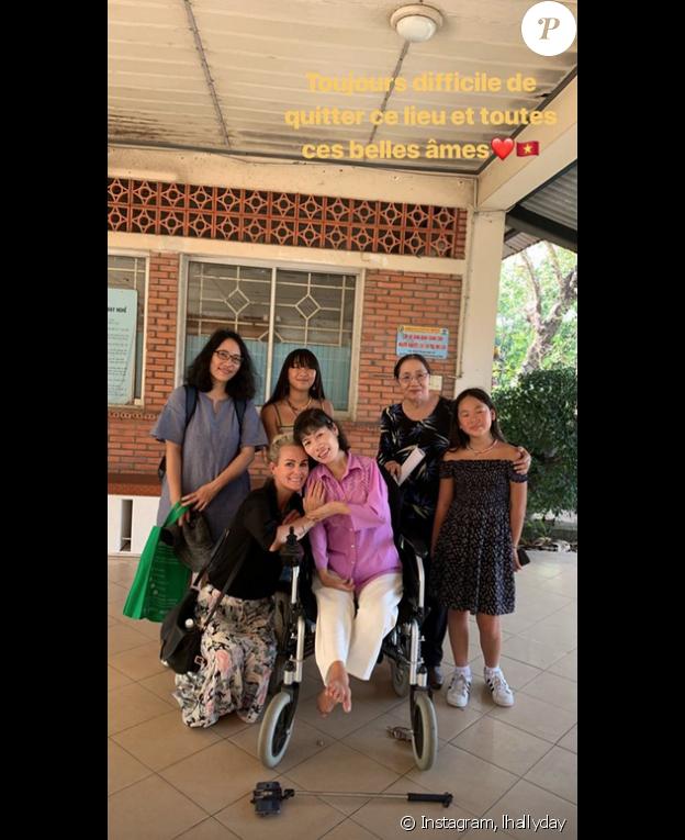 Laeticia Hallyday en voyage au Vietnam, le 5 janvier 2019.
