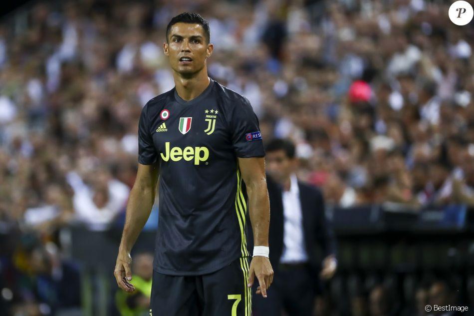 """Cristiano Ronaldo lors du match de Champion's League """"Valence - Juventus (0-2)"""" au stade Mestalla à Valence, le 19 septembre 2018."""
