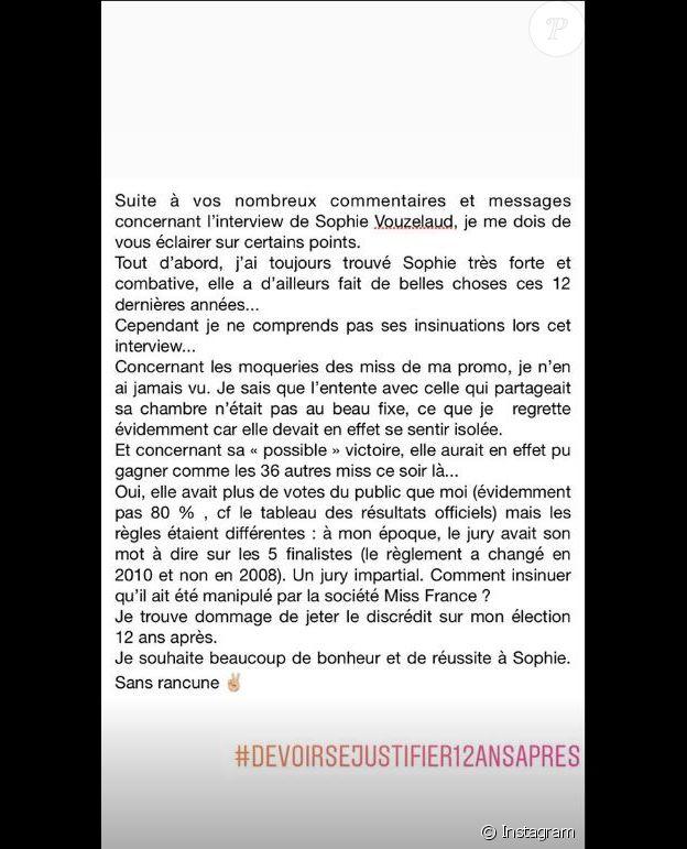 Message de Rachel-Legrain Trapani, 15 janvier 2019, Instagram