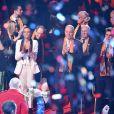 Pauline Ducruet, Robert Hossein, sa femme Candice Patou, la princesse Stéphanie de Monaco, le prince Albert II de Monaco, et Louis Ducruet avec sa fiancée Marie Chevalier - La famille princière de Monaco est venue assister à une représentation du 43ème festival international du cirque de Monte-Carlo sous le chapiteau de Fontvieille à Monaco, le 22 janvier 2019. © Bruno Bébert/Pool Monaco/Bestimage