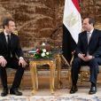 Emmanuel Macron, Abdel Fattah al-Sissi - Rencontre bilatérale entre le président de la République française et le président de la République égyptienne au palais présidentiel au Caire. Le 28 janvier 2019 © Romuald Meigneux / Pool / Bestimage