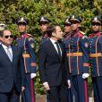 Emmanuel Macron est accueilli par le président de la République d'Egypte Abdel Fattah al-Sissi au palais présidentiel au Caire. Le 28 janvier 2019 © Romuald Meigneux / Pool / Bestimage