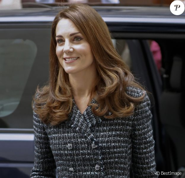 "Catherine (Kate) Middleton, duchesse de Cambridge arrive à la conférence de ""Mental Health In Education"" au centre de conférence Mercers' Hall à Londres, Royaume Uni, le 13 février 2019."