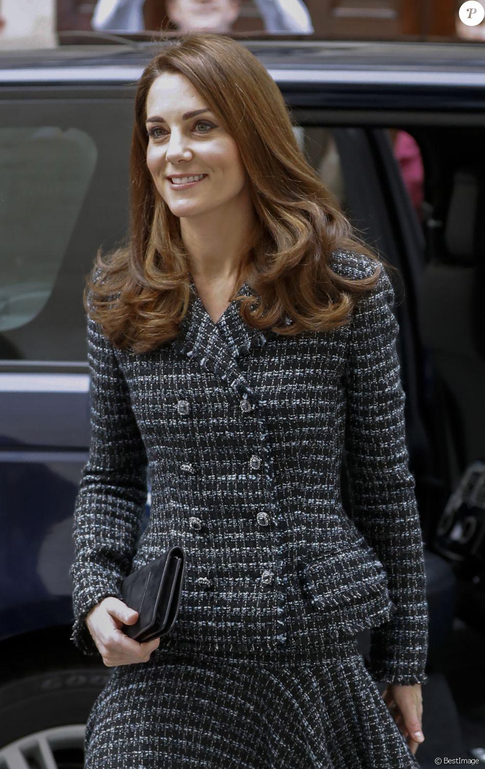 """Catherine (Kate) Middleton, duchesse de Cambridge arrive à la conférence de """"Mental Health In Education"""" au centre de conférence Mercers' Hall à Londres, Royaume Uni, le 13 février 2019."""