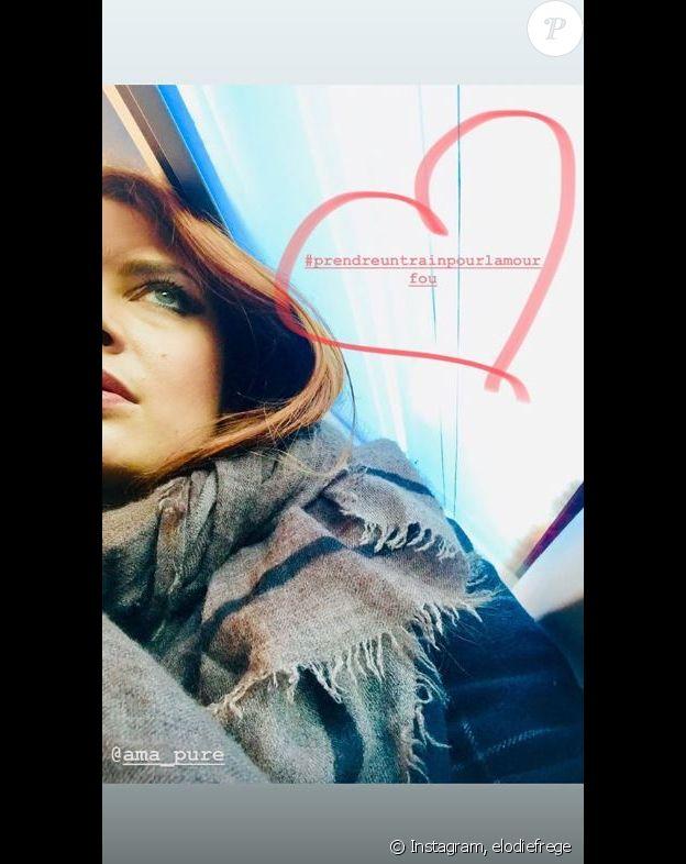 Elodie Frégé dans un train pour rejoindre Gian Marco pour la Saint-Valentin. Instagram, le 14 février 2019.