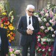 Karl Lagerfeld aux obsèques de Jean Luc Lagardère à Paris. Mars 2003.