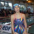 Estelle Denis lors du Challenges Swimming Heroes pour l'UNICEF lors du meeting Olympique à la piscine de Courbevoie, France, le 24 février 2019. © Pierre Perusseau/Bestimage
