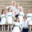 La princesse Charlotte de Cambridge, lors du mariage de la princesse Eugenie d'York et Jack Brooksbank en la chapelle Saint-George au château de Windsor le 12 octobre 2018.