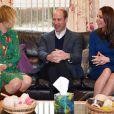 """Le prince William et Kate Middleton, duchesse de Cambridge, en visite au centre """"SureStart Facility"""" à Ballymena lors de leur voyage officiel en Irlande le 28 février 2019"""