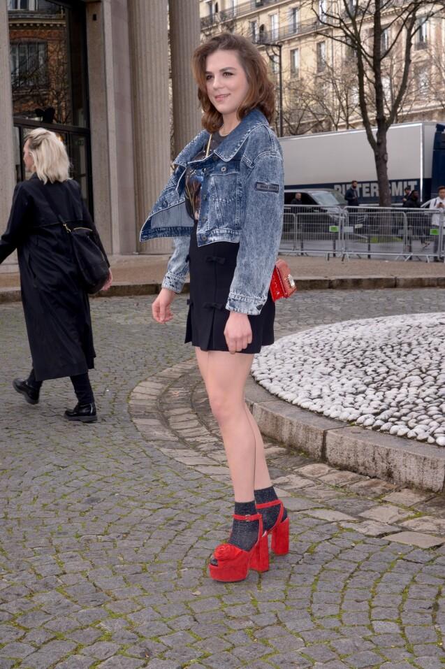Morgane Polanski - Défilé Miu Miu, collection prêt-à-porter automne-hiver 2019-2020 au Palais d'Iéna. Paris, le 5 mars 2019.
