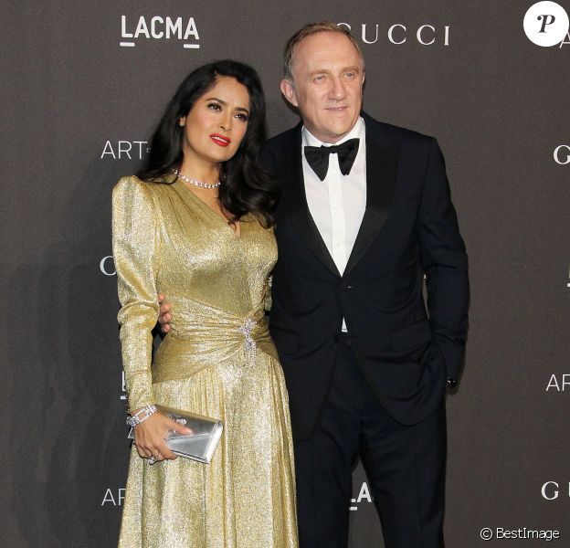 Salma Hayek et son mari François Henri-Pinault à la soirée LACMA Art + Film en l'honneur de Catherine Opie et Guillermo Del Toro présentée par Gucci à Los Angeles, le 3 novembre 2018