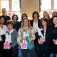"""Lisa Azuelos, Yasmina Jaafar, Laurence Bloch lors de la signature au ministère de la Culture de la Charte PFDM """" Pour les femmes dans les médias """", contre le harcèlement et les agissements sexistes dans les médias le 13 mars 2019. ©Cyril Moreau / Bestimage"""