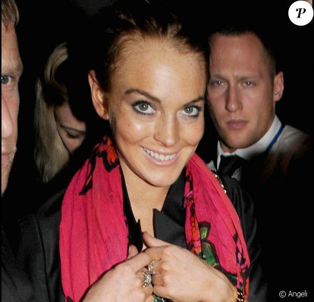 Lindsay Lohan à la sortie du Bungalow 8, à Londres, hier soir