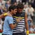 Roger Federer et Juan Martin Del Potro lors des 1/2 finales de Roland-Garros, le 5 juin 2009