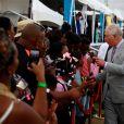 Le prince Charles, prince de Galles, assiste à une cérémonie officielle de bienvenue au stade de Sainte-Lucie, le 17 mars 2019, lors de sa tournée de 13 jours dans les Caraïbes.