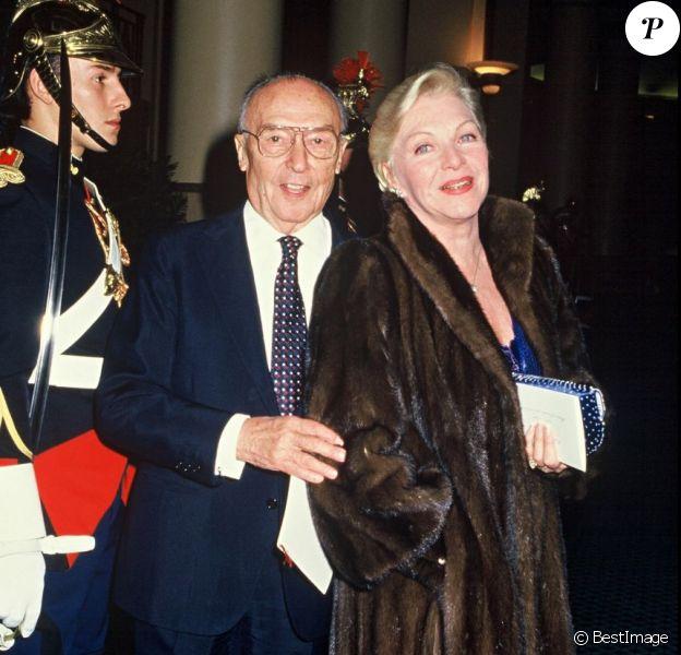 Loulou Gasté et Line Renaud à Paris, le 11 novembre 1987.