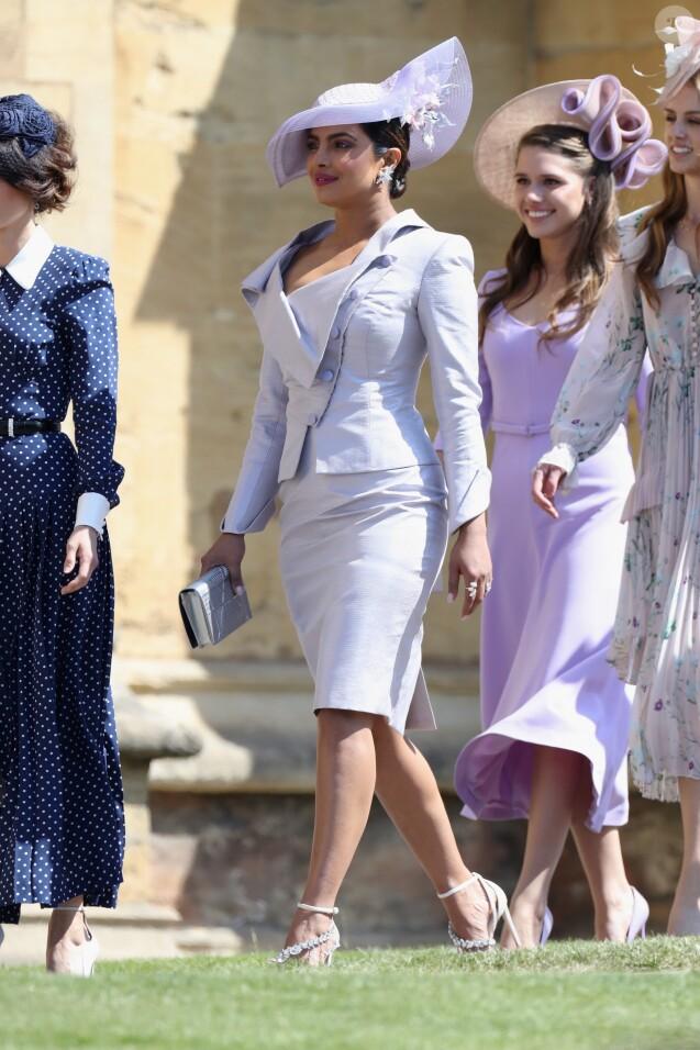 Priyanka Chopra - Les invités arrivent à la chapelle St. George pour le mariage du prince Harry et de Meghan Markle au château de Windsor, Royaume, Uni, le 19 mai 2018.