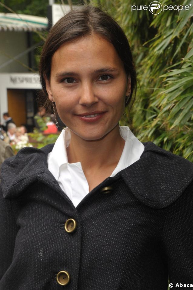 Virginie Ledoyen à Roland-Garros, le 6 juin 2009 pour la finale femmes opposant les russes Svetlana Kuznetsova et Dinara Safina.