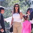 Kourtney Kardashian avec ses enfants Penelope, Mason et Reign Disick - Les célébrités ont assisté à la messe dominicale en musique de Kanye West à Los Angeles. Le 24 mars 2019.