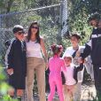Kourtney Kardashian avec ses enfants Penelope, Mason et Reign Disick - Les célébritésont assisté à la messe dominicale en musique de Kanye West à Los Angeles. Le 24 mars 2019.