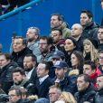 Bruno Solo, Jean-Roch, Emmanuel Levy dit Manu Levy, Valérie Bègue (Miss France 2008), Nagui et sa femme Mélanie Page - People assistent au match des éliminatoires de l'Euro 2020 entre la France et l'Islande au Stade de France à Saint-Denis le 25 mars 2019. La france a remporté le match sur le score de 4-0.