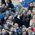 Bruno Solo, Jean-Roch, Emmanuel Levy dit Manu Levy, Vianney et sa compagne Catherine Robert, Valérie Bègue (Miss France 2008), Nagui et sa femme Mélanie Page - People assistent au match des éliminatoires de l'Euro 2020 entre la France et l'Islande au Stade de France à Saint-Denis le 25 mars 2019. La france a remporté le match sur le score de 4-0.